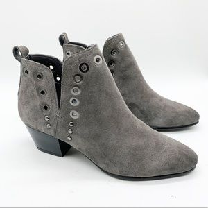 SAM EDELMAN SUEDE ANKLE BOOTIES W/ GROMMETS SZ 5.5